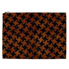 Houndstooth2 Black Marble & Brown Burl Wood Cosmetic Bag (xxl)
