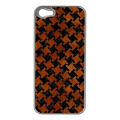 Houndstooth2 Black Marble & Brown Burl Wood Apple Iphone 5 Case (silver)