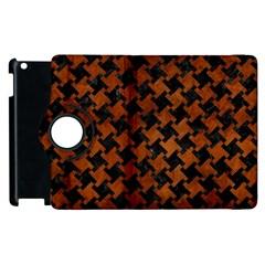 Houndstooth2 Black Marble & Brown Burl Wood Apple Ipad 2 Flip 360 Case by trendistuff