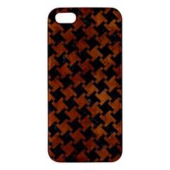 Houndstooth2 Black Marble & Brown Burl Wood Apple Iphone 5 Premium Hardshell Case