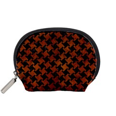 Houndstooth2 Black Marble & Brown Burl Wood Accessory Pouch (small) by trendistuff