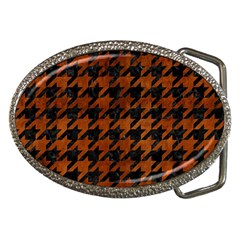 Houndstooth1 Black Marble & Brown Burl Wood Belt Buckle by trendistuff