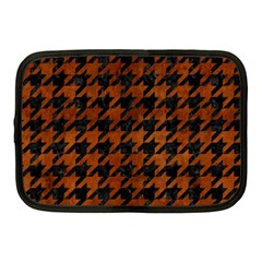 Houndstooth1 Black Marble & Brown Burl Wood Netbook Case (medium) by trendistuff