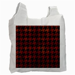 Houndstooth1 Black Marble & Brown Burl Wood Recycle Bag (two Side) by trendistuff