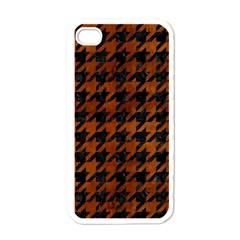 Houndstooth1 Black Marble & Brown Burl Wood Apple Iphone 4 Case (white) by trendistuff