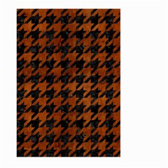 Houndstooth1 Black Marble & Brown Burl Wood Large Garden Flag (two Sides) by trendistuff