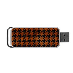 Houndstooth1 Black Marble & Brown Burl Wood Portable Usb Flash (two Sides) by trendistuff