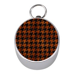 Houndstooth1 Black Marble & Brown Burl Wood Silver Compass (mini) by trendistuff