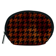 Houndstooth1 Black Marble & Brown Burl Wood Accessory Pouch (medium) by trendistuff