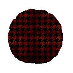 Houndstooth1 Black Marble & Brown Burl Wood Standard 15  Premium Flano Round Cushion  by trendistuff
