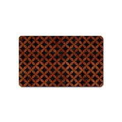 Circles3 Black Marble & Brown Burl Wood Magnet (name Card) by trendistuff