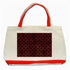Circles3 Black Marble & Brown Burl Wood Classic Tote Bag (red) by trendistuff