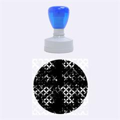 Circles3 Black Marble & Brown Burl Wood Rubber Stamp Round (medium)