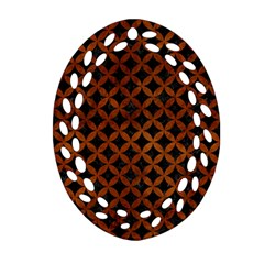 Circles3 Black Marble & Brown Burl Wood Oval Filigree Ornament (two Sides) by trendistuff