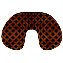 Circles3 Black Marble & Brown Burl Wood Travel Neck Pillow by trendistuff