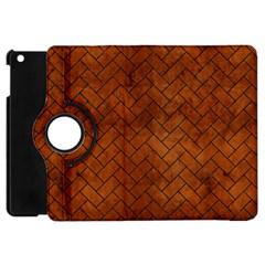 Brick2 Black Marble & Brown Burl Wood (r) Apple Ipad Mini Flip 360 Case by trendistuff
