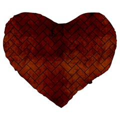 Brick2 Black Marble & Brown Burl Wood (r) Large 19  Premium Flano Heart Shape Cushion by trendistuff