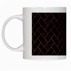 Brick2 Black Marble & Brown Burl Wood White Mug by trendistuff