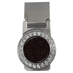 Brick2 Black Marble & Brown Burl Wood Money Clip (cz) by trendistuff