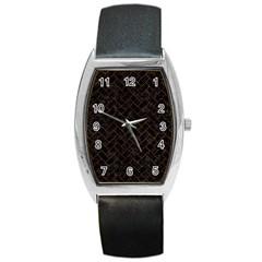 Brick2 Black Marble & Brown Burl Wood Barrel Style Metal Watch by trendistuff