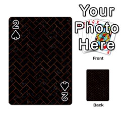 Brick2 Black Marble & Brown Burl Wood Playing Cards 54 Designs
