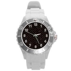 Brick2 Black Marble & Brown Burl Wood Round Plastic Sport Watch (l) by trendistuff