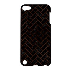 Brick2 Black Marble & Brown Burl Wood Apple Ipod Touch 5 Hardshell Case by trendistuff