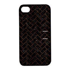 Brick2 Black Marble & Brown Burl Wood Apple Iphone 4/4s Hardshell Case With Stand by trendistuff