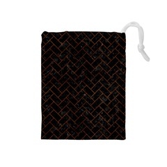 Brick2 Black Marble & Brown Burl Wood Drawstring Pouch (medium)