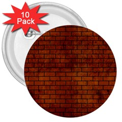 Brick1 Black Marble & Brown Burl Wood (r) 3  Button (10 Pack) by trendistuff