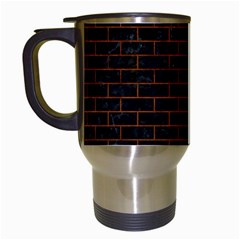 Brick1 Black Marble & Brown Burl Wood Travel Mug (white) by trendistuff