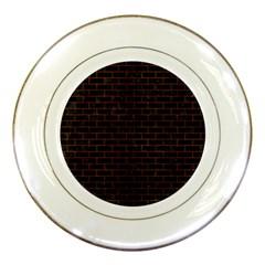 Brick1 Black Marble & Brown Burl Wood Porcelain Plate by trendistuff