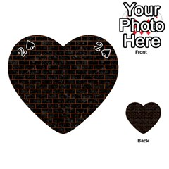 Brick1 Black Marble & Brown Burl Wood Playing Cards 54 (heart)