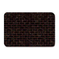 Brick1 Black Marble & Brown Burl Wood Plate Mat by trendistuff