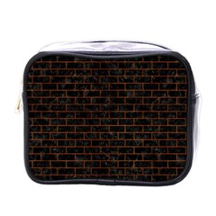 Brick1 Black Marble & Brown Burl Wood Mini Toiletries Bag (one Side) by trendistuff