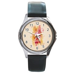 Paris With Watercolor Round Metal Watch