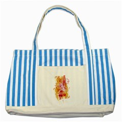 Paris   Mon Amour   With Watercolor Striped Blue Tote Bag