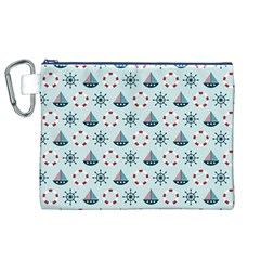 Nautical Elements Pattern Canvas Cosmetic Bag (xl)  by TastefulDesigns
