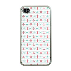 Seamless Nautical Pattern Apple Iphone 4 Case (clear) by TastefulDesigns