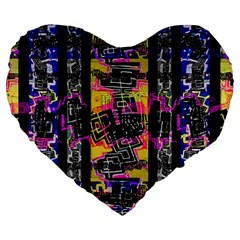 Urban Tribal Stripes Large 19  Premium Flano Heart Shape Cushions by dflcprints