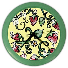 Strawberry Pattern Color Wall Clocks by BubbSnugg
