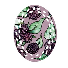 Black Raspberry Fruit Purple Pattern Oval Filigree Ornament (2 Side)