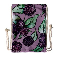 Black Raspberry Fruit Purple Pattern Drawstring Bag (large)