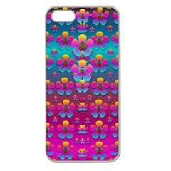 Freedom Peace Flowers Raining In Rainbows Apple Seamless Iphone 5 Case (clear) by pepitasart
