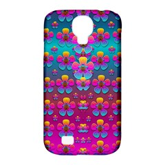 Freedom Peace Flowers Raining In Rainbows Samsung Galaxy S4 Classic Hardshell Case (pc+silicone) by pepitasart