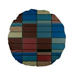 Rectangles in retro colors pattern                      Standard 15  Premium Flano Round Cushion Front