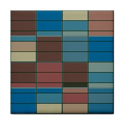 Rectangles In Retro Colors Pattern                      			tile Coaster by LalyLauraFLM