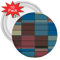 Rectangles In Retro Colors Pattern                      			3  Button (10 Pack) by LalyLauraFLM