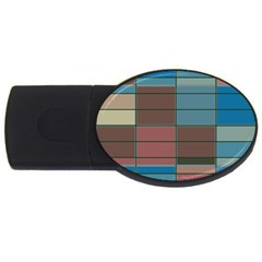 Rectangles In Retro Colors Pattern                      			usb Flash Drive Oval (4 Gb) by LalyLauraFLM