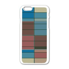 Rectangles In Retro Colors Pattern                      apple Iphone 6/6s White Enamel Case by LalyLauraFLM